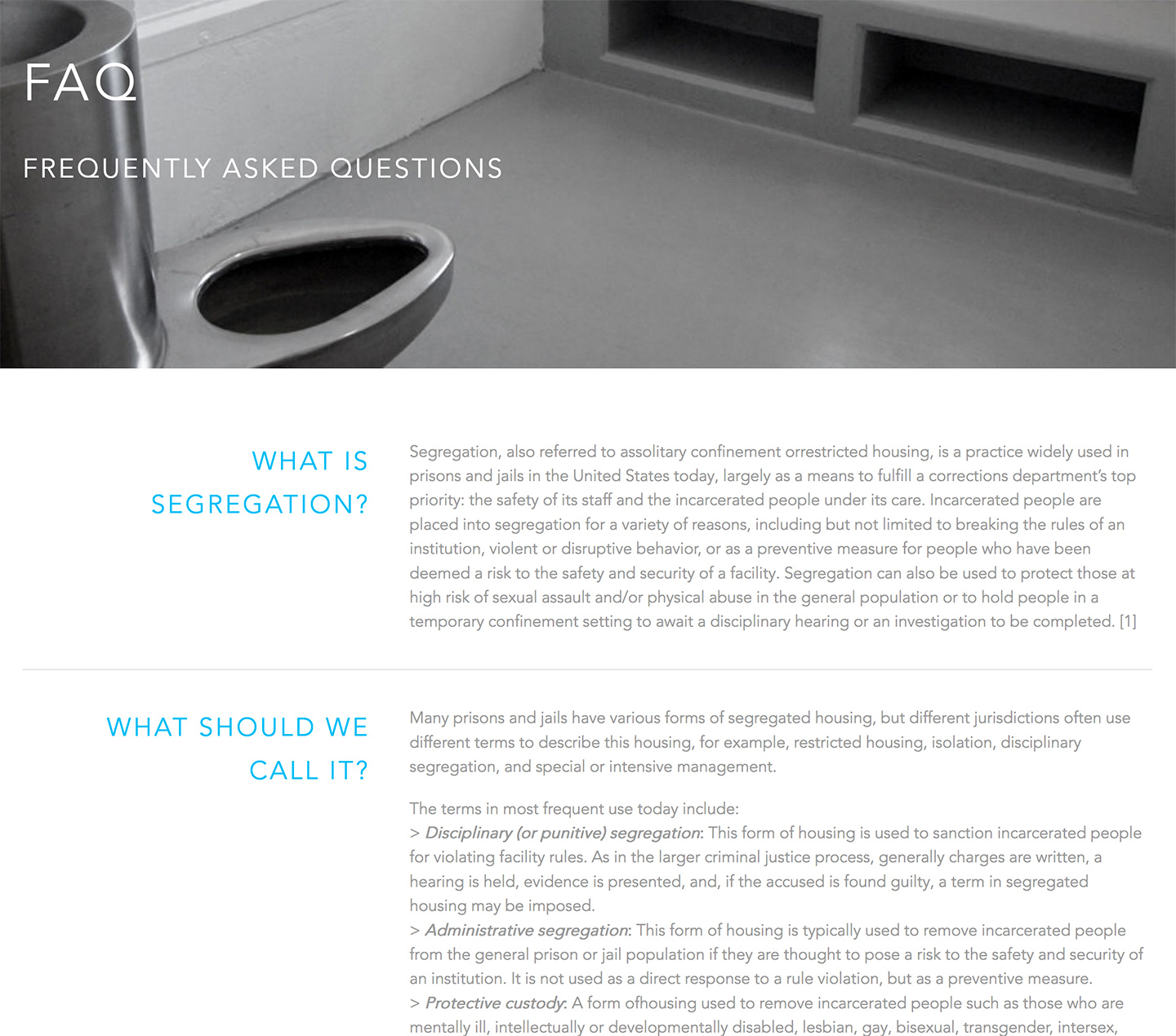 Vera Institute of Justice | Safe Alternatives to Segregation Resource Center: SASRC FAQ