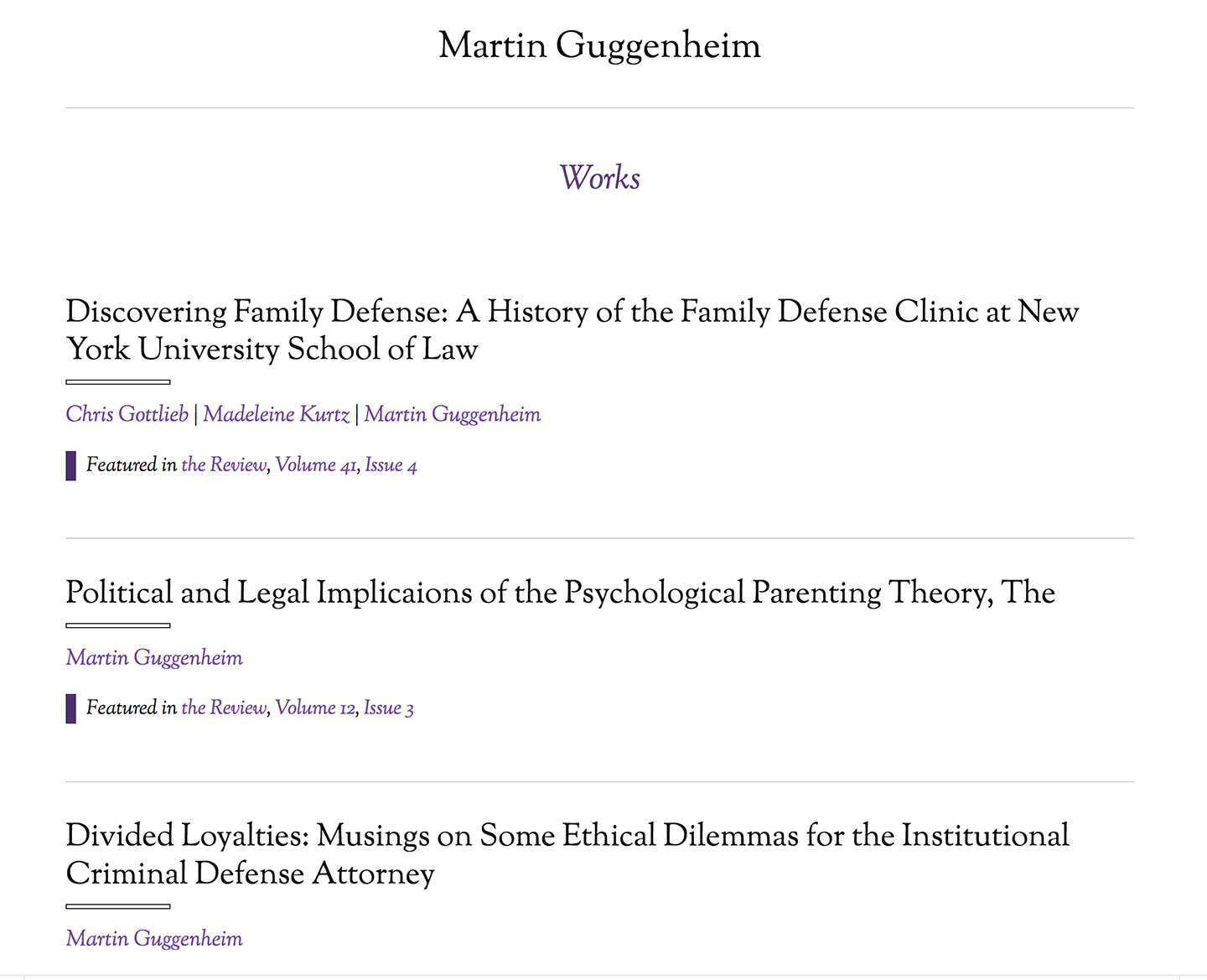 NYU: Review of Law and Social Change: Dynamic Author Archives