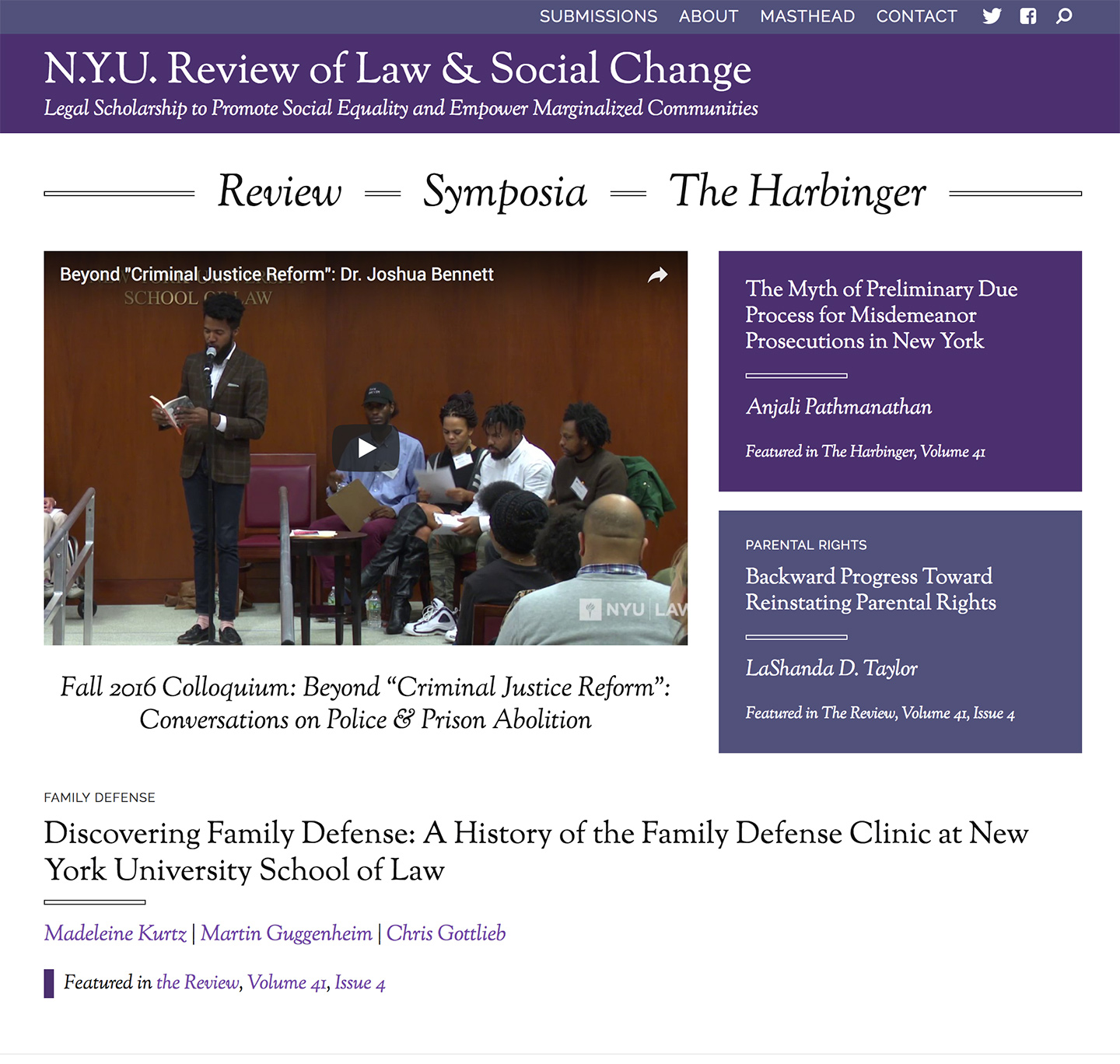 Bringing an Archive to Life: N.Y.U. Review of Law and Social Change