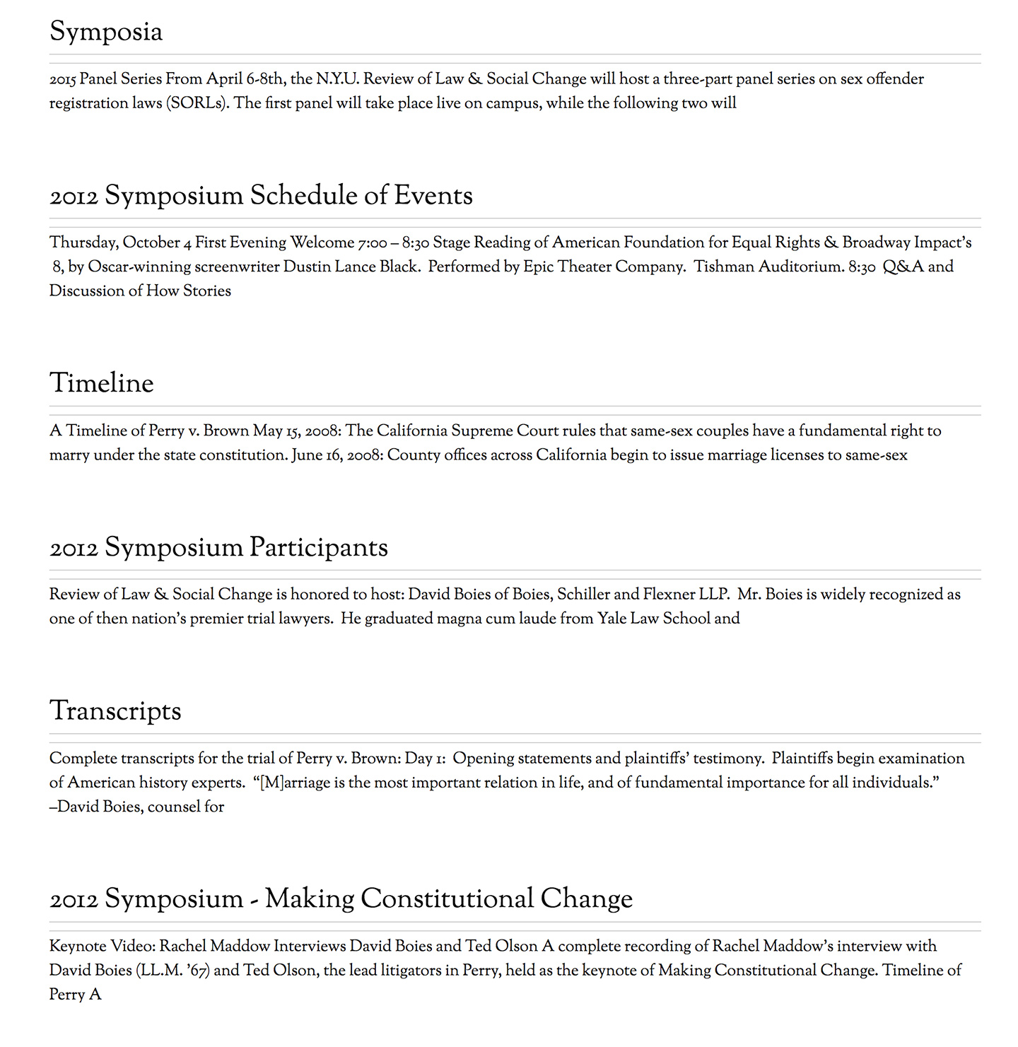 NYU: Review of Law and Social Change: Automated Events Listing