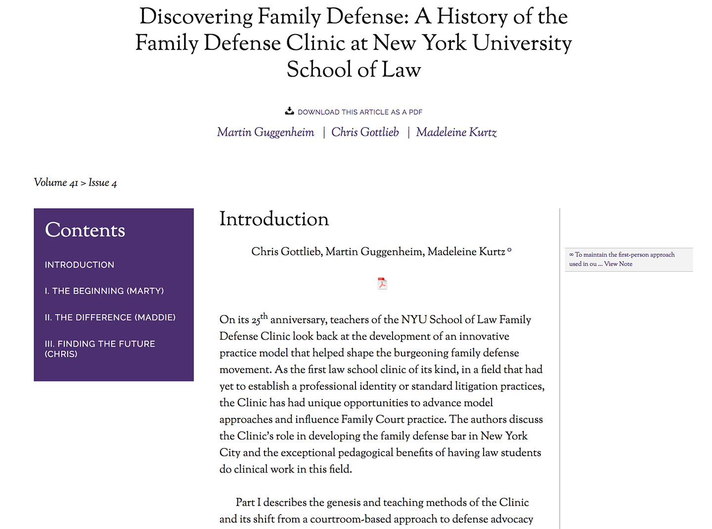 NYU: Review of Law and Social Change: Single Article View