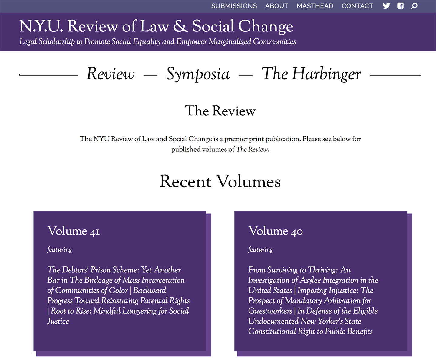 NYU: Review of Law and Social Change: Journal Overview