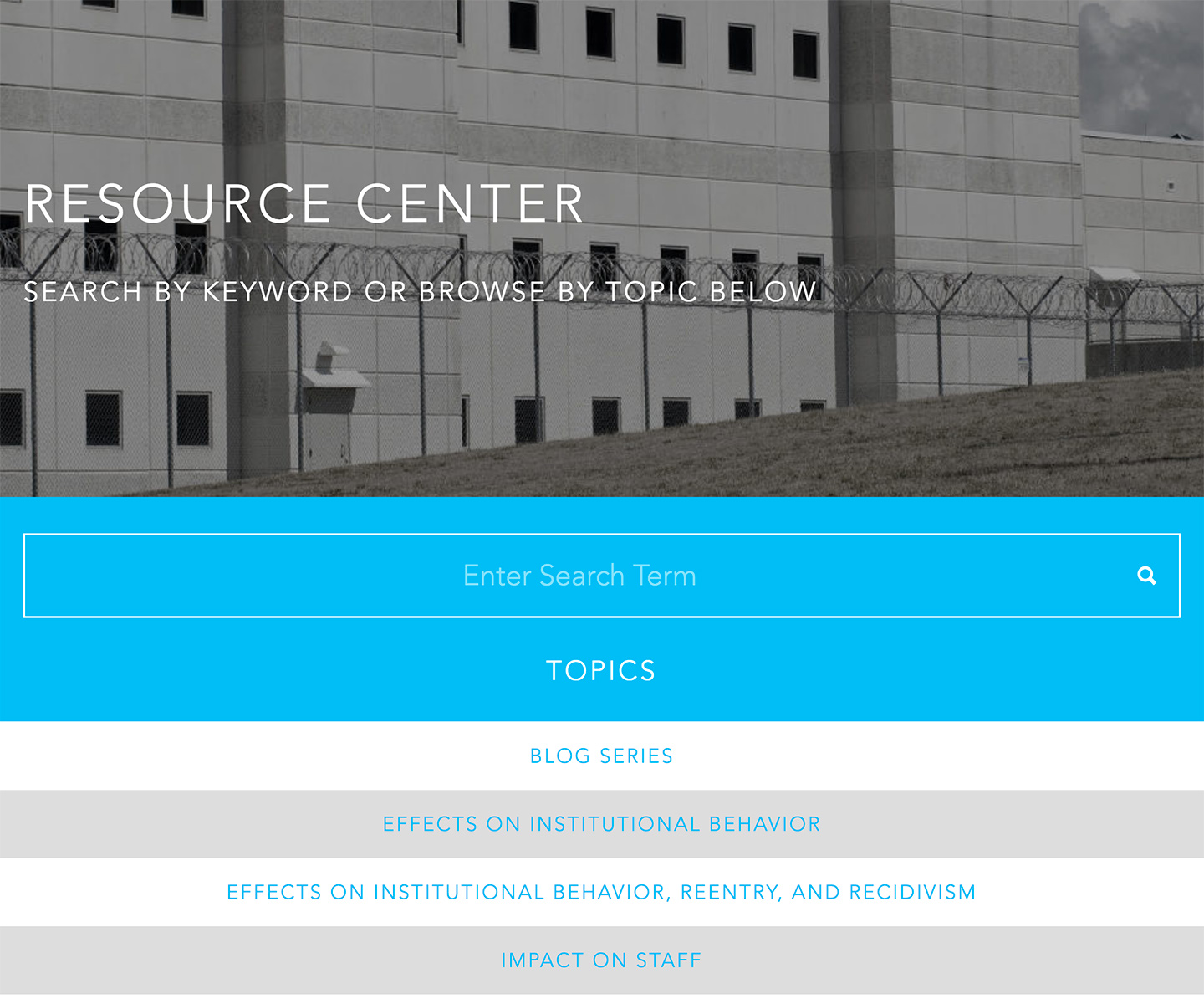 Vera Institute of Justice | Safe Alternatives to Segregation Resource Center: Resources Hub
