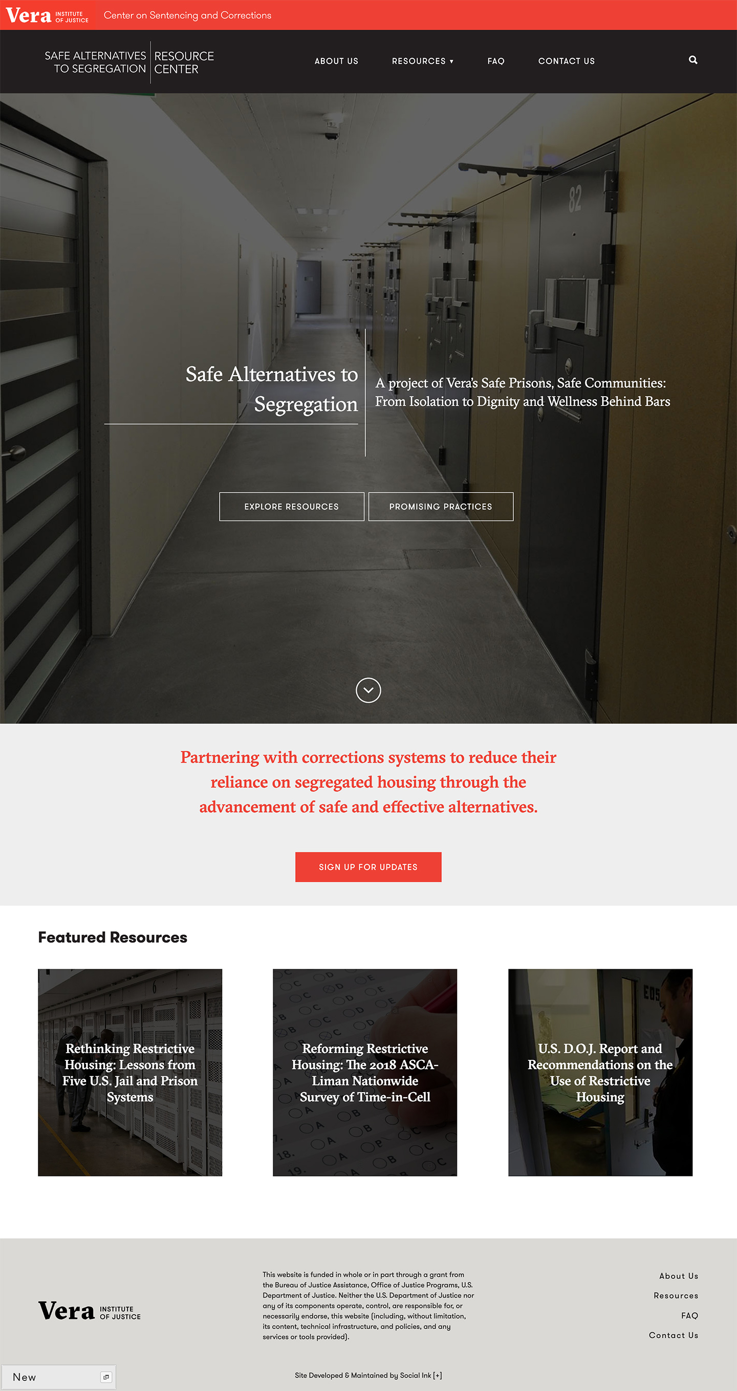 Vera Institute of Justice | Safe Alternatives to Segregation Resource Center: Vera SASRC New Branded Home
