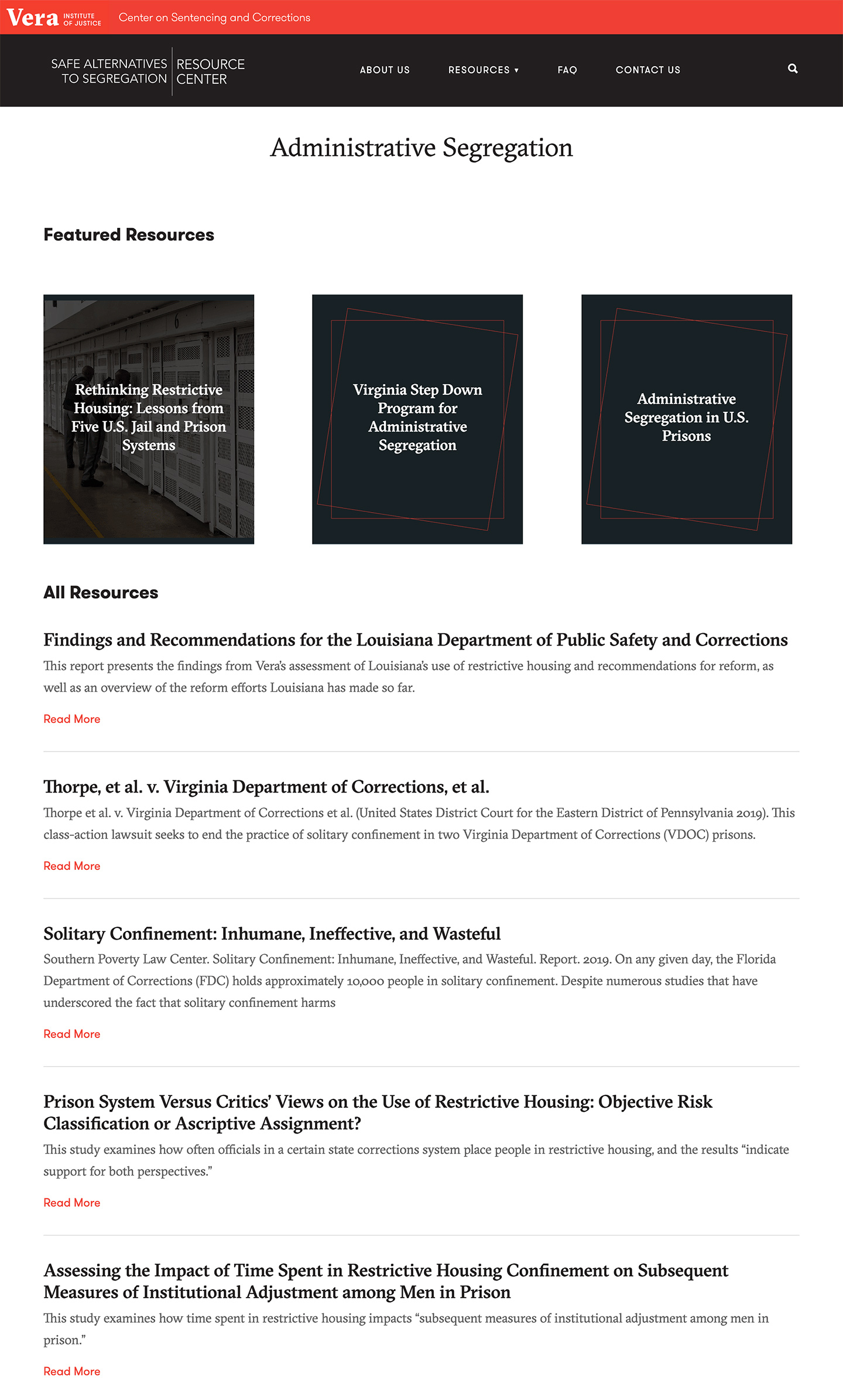 Vera Institute of Justice | Safe Alternatives to Segregation Resource Center: Vera SASRC New Branded Resource Type