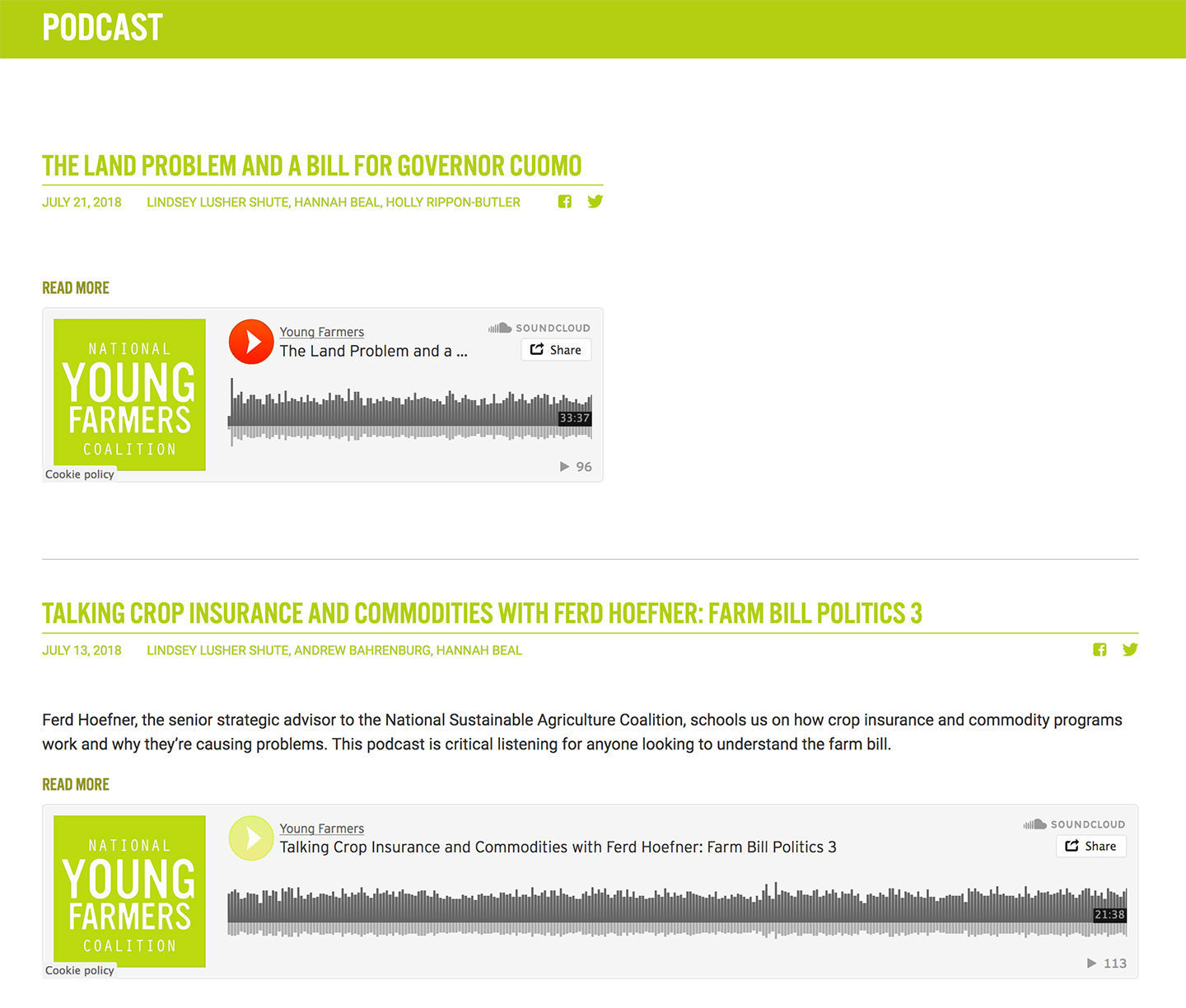 National Young Farmers Coalition: NYFC Featured Podcasts