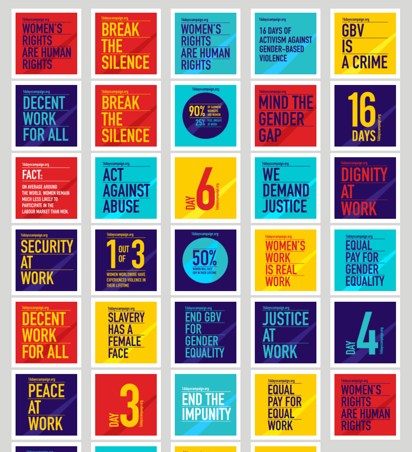 Center for Women's Global Leadership at Rutger's University: 16 Days Campaign: Resources Poster