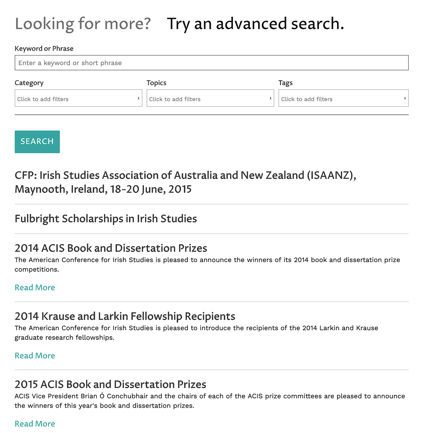 American Conference for Irish Studies (ACIS): ACIS: Advanced Conference Search