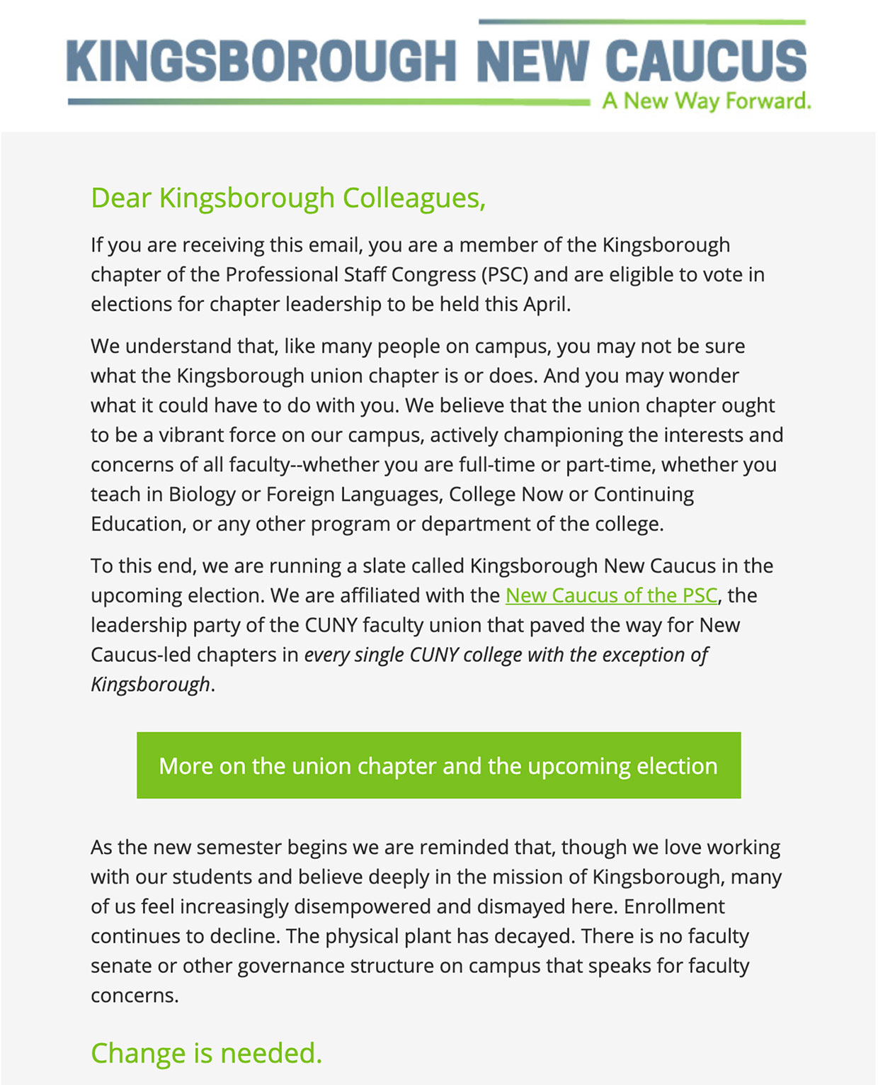 Kingsborough New Caucus: Logo Design and Mailchimp Email Newsletter Template: Email Template Application