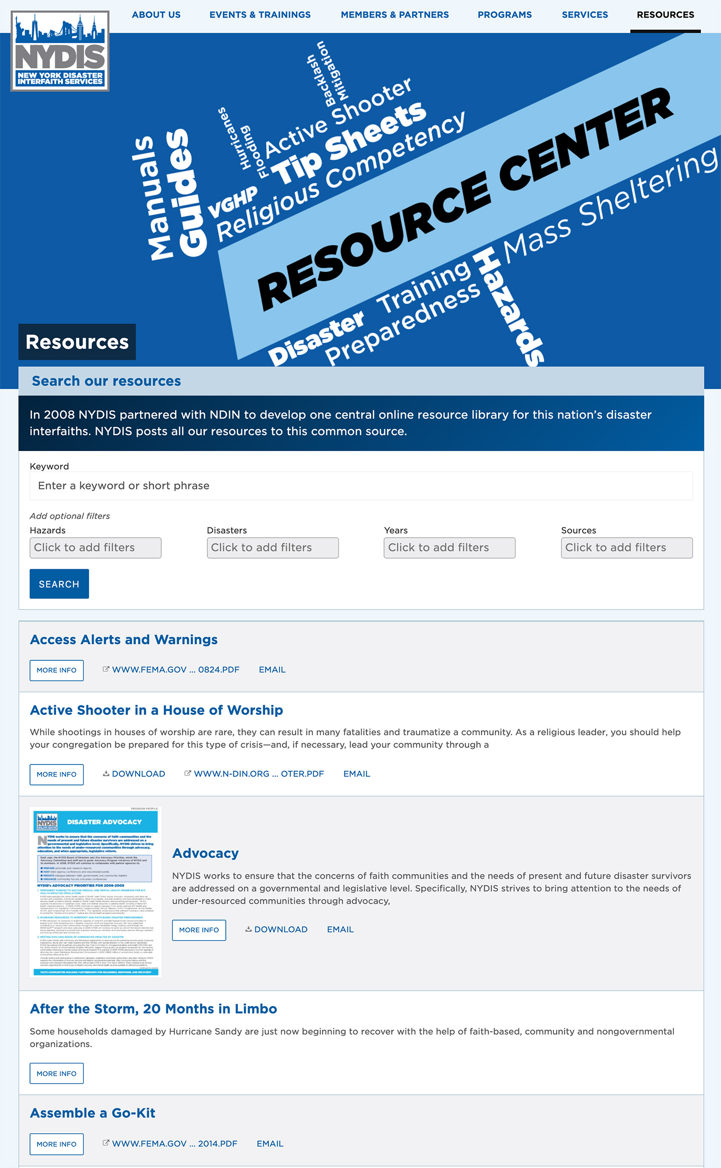 NYDIS: New York Disaster Interfaith Services: Resources with Advanced Filtering