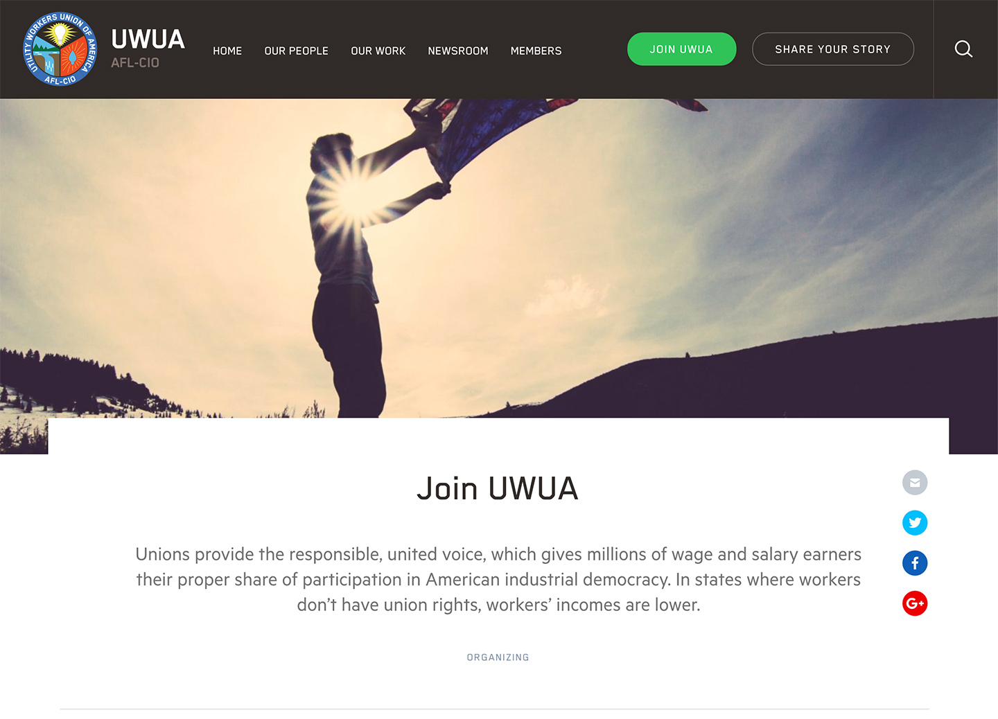 Utility Workers Union of America (UWUA): UWUA Utility Workers Union of America - Page Template