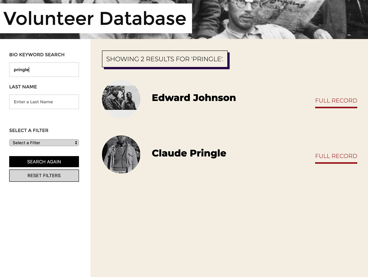 The Abraham Lincoln Brigade Archives (ALBA): Volunteer Database Results View