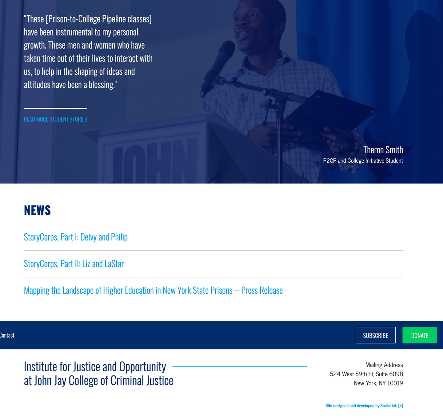 Institute for Justice and Opportunity (CUNY John Jay): John Jay Institute for Justice and Opportunity: Home Featured Stories