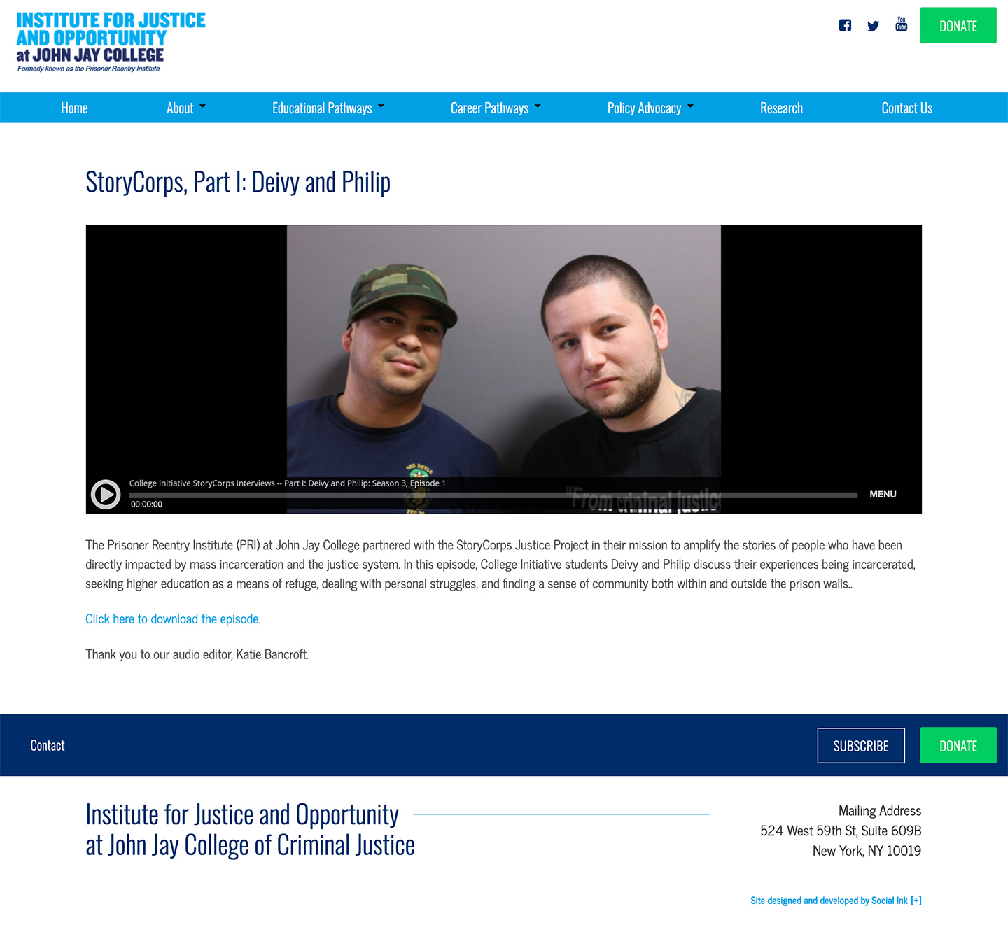 Institute for Justice and Opportunity (CUNY John Jay): John Jay Institute for Justice and Opportunity: Podcast and Storycorps