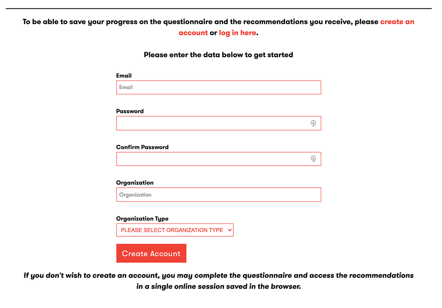 Restrictive Housing Assessment Tool from the Vera Institute of Justice: Restrictive Housing Assessment Tool - Account Creation