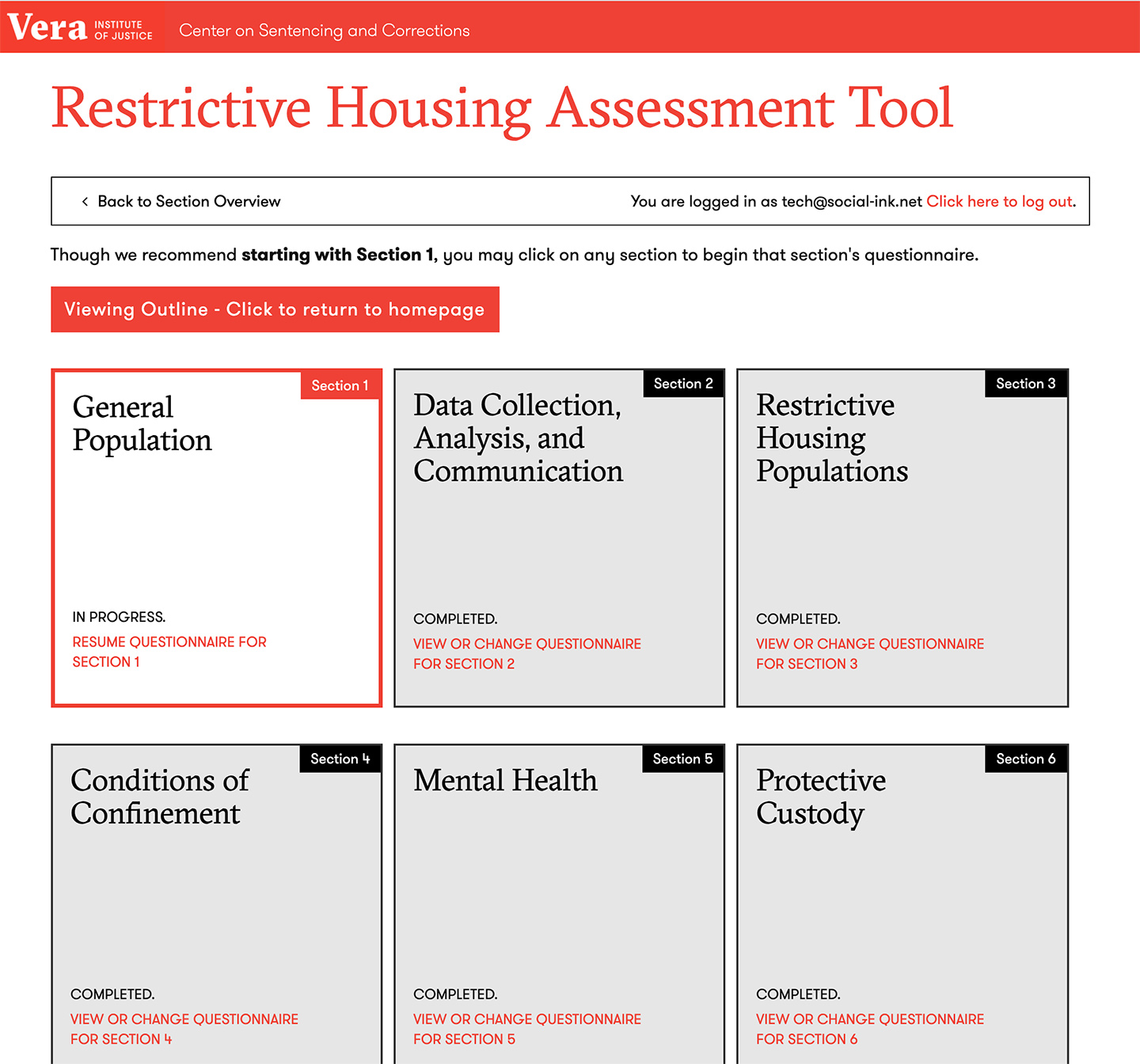 Restrictive Housing Assessment Tool from the Vera Institute of Justice: Restrictive Housing Assessment Tool - Overview Grid