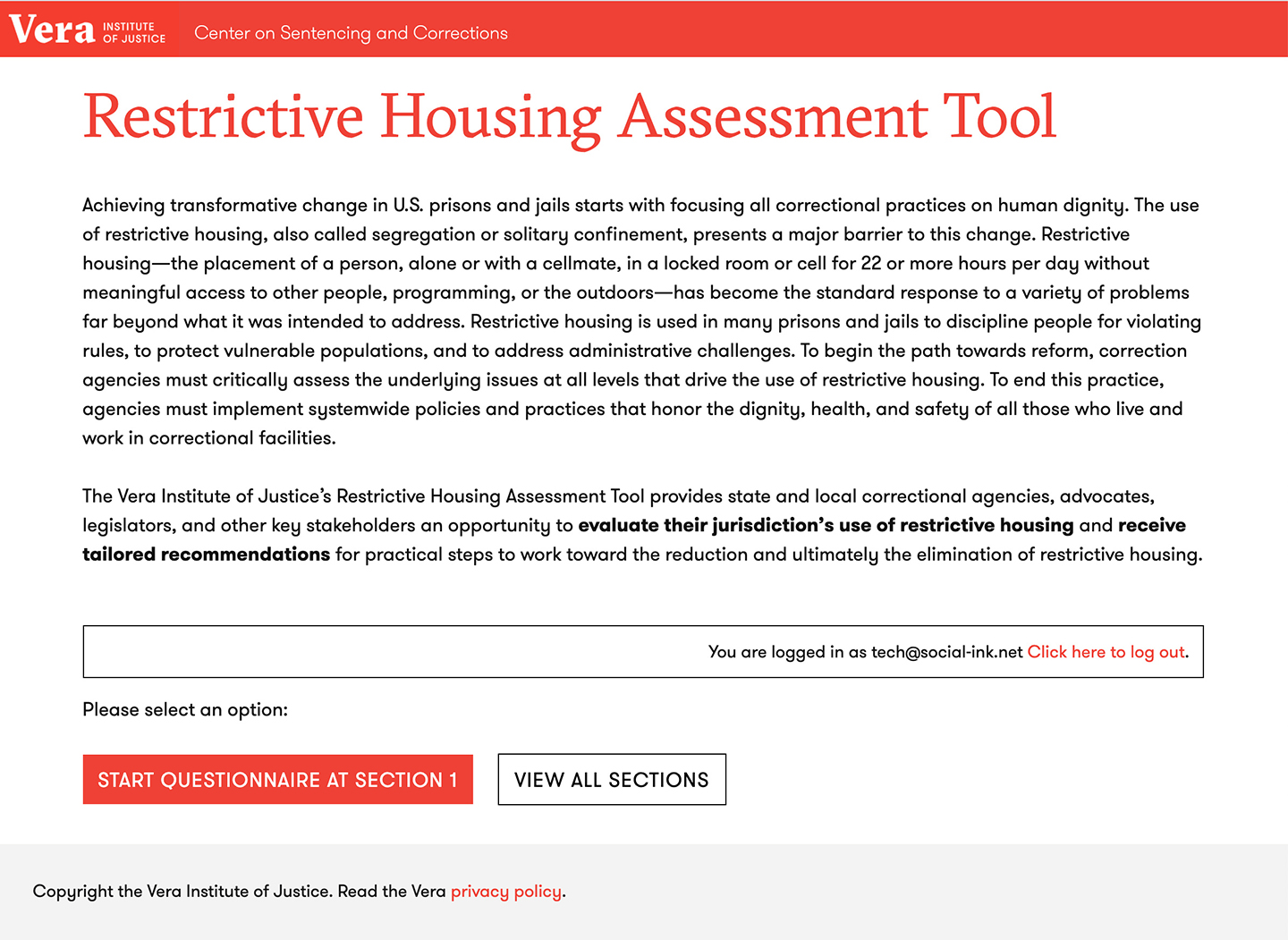 New Web Application launched for the Vera Institute of Justice: The Restrictive Housing Assessment Tool