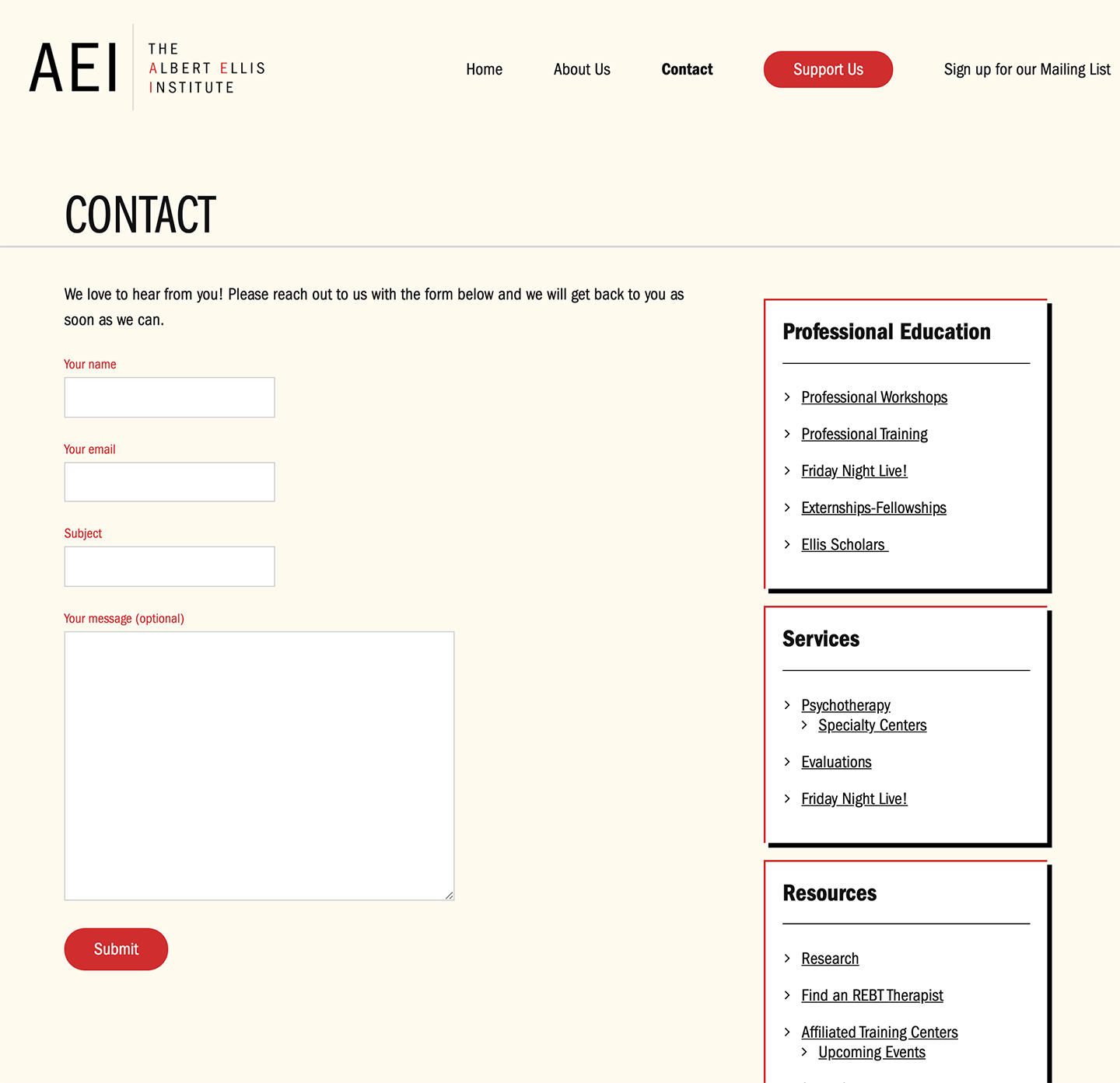 Albert Ellis Institute: Albert Ellis Institute - Contact Forms