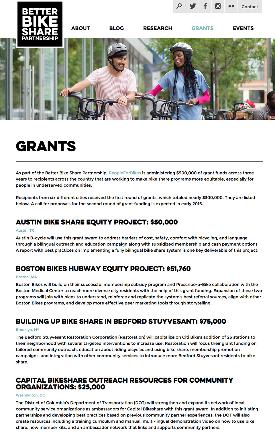 Better Bike Share Partnership: Grant Information
