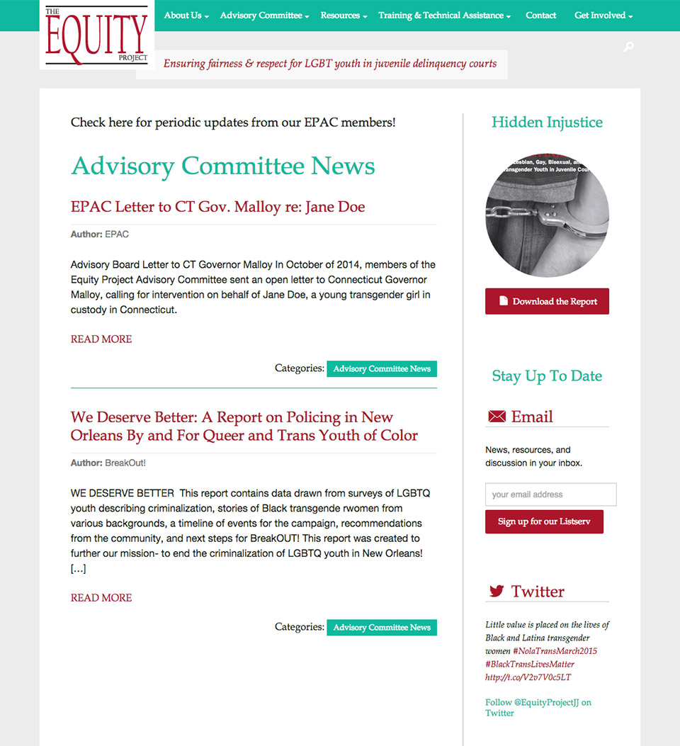 The Equity Project: Advisory Committee News