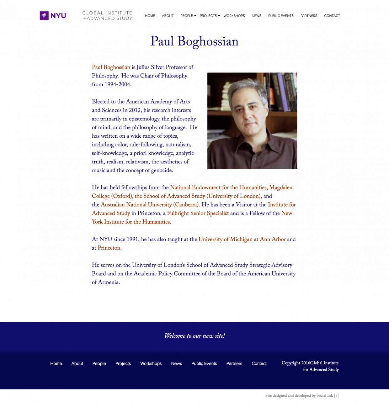 Global Institute for Advanced Study NYU: Featured Staff Page