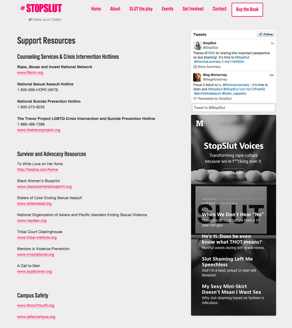 #StopSlut Support Resources