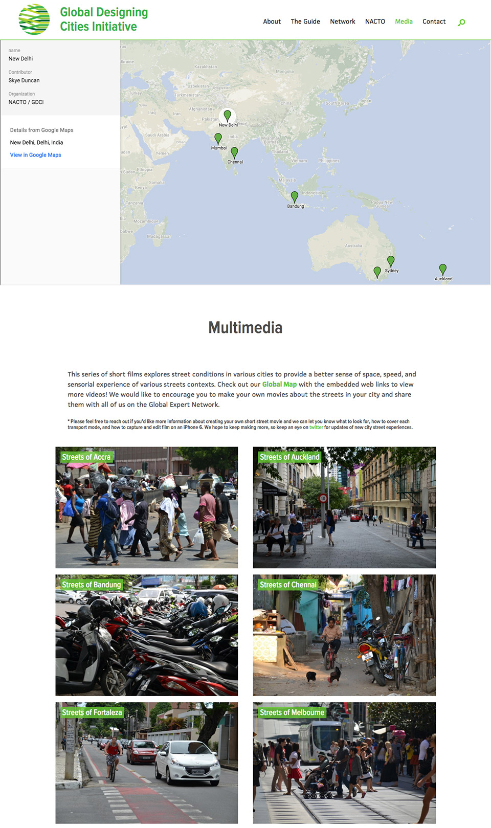 Global Designing Cities Initiative: Interactive Map & Multimedia