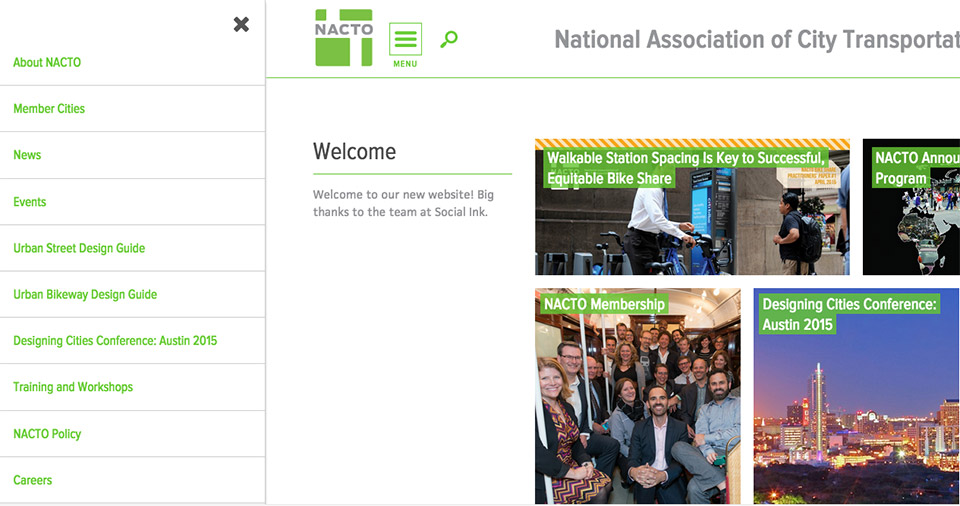National Association of City Transportation Officials (NACTO): Sidebar Menu