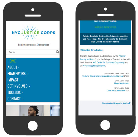 NYC Justice Corps: Mobile Responsive Design (RWD)