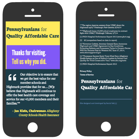 Pennsylvanians for Quality Affordable Healthcare: Mobile Responsive Design (RWD)