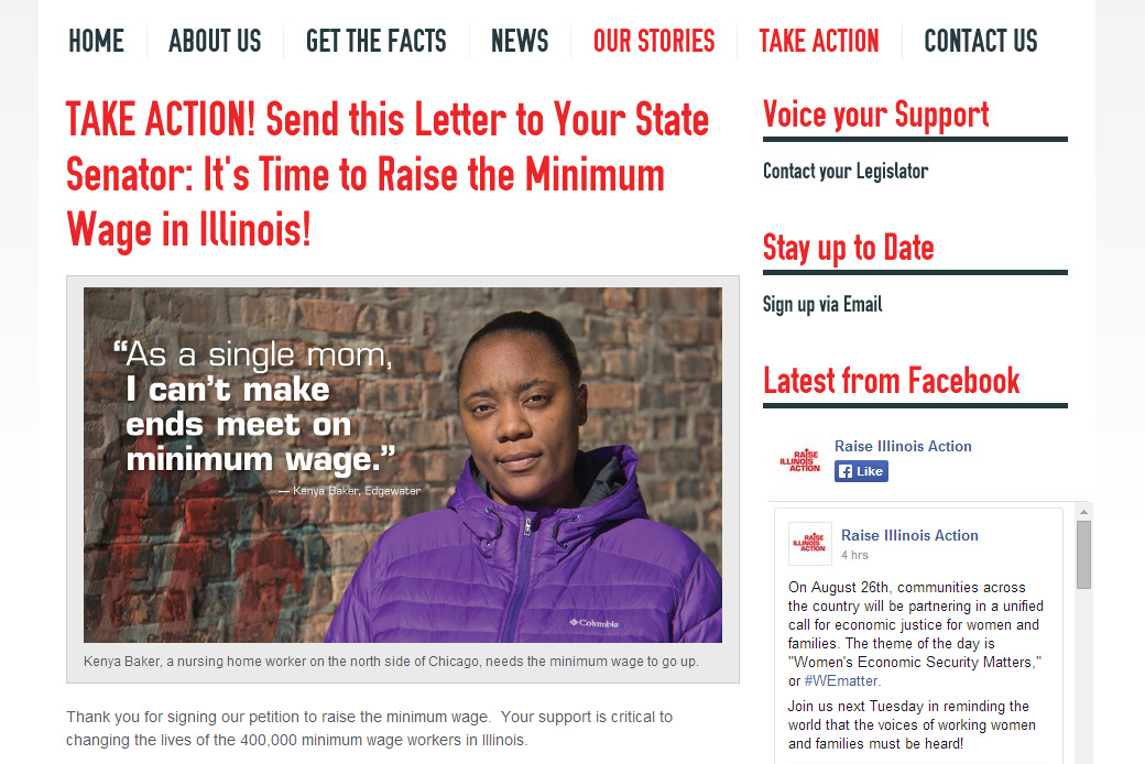 Raise Illinois Action: Raise Illinois Action Take Action Page by Social Ink