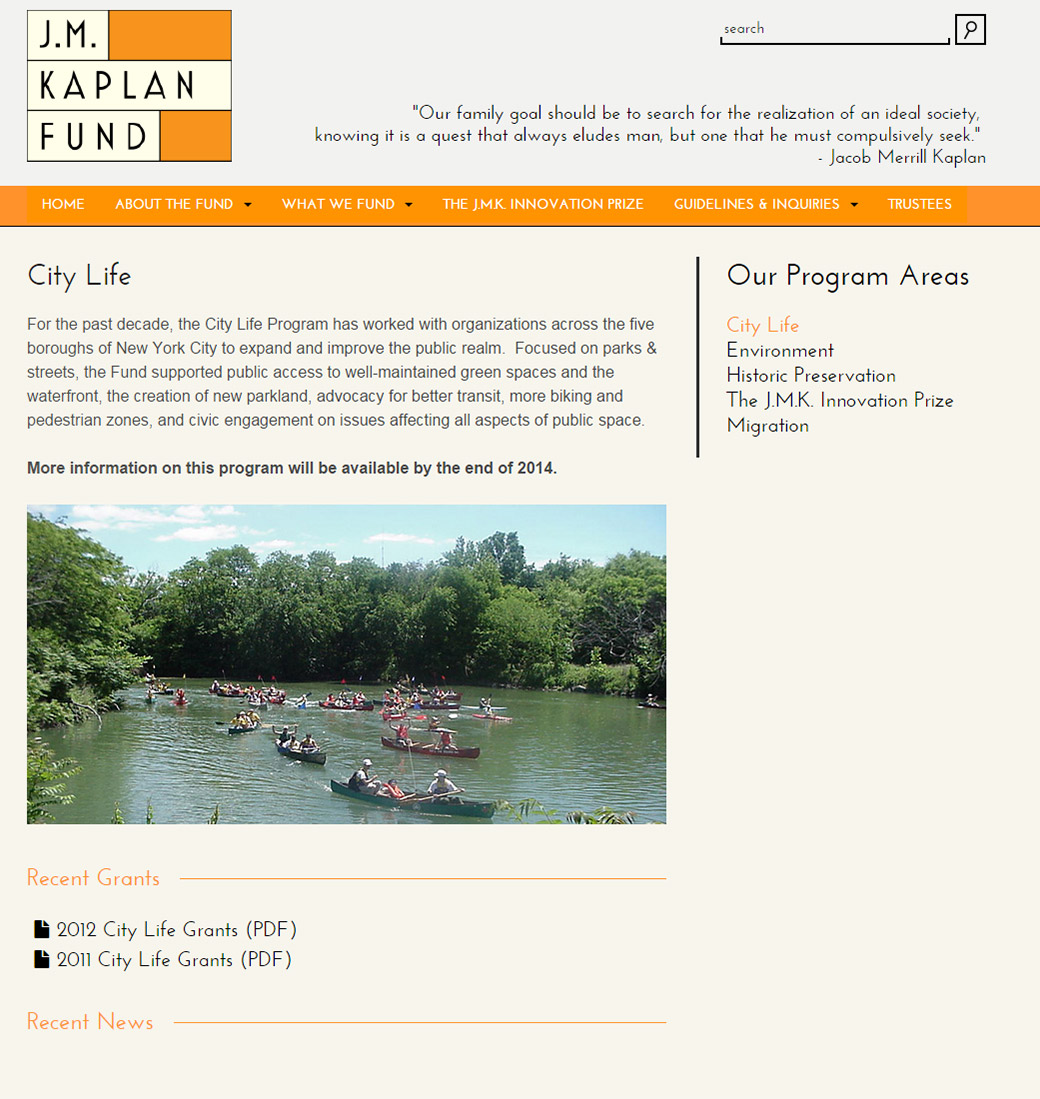 J.M. Kaplan Fund: JM Kaplan Fund City Life Overview