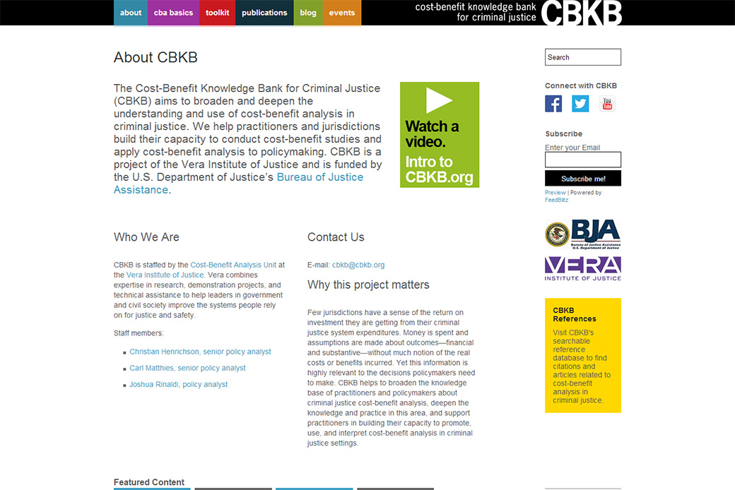 Cost-Benefit Knowledge Bank for Criminal Justice (Vera Institute of Justice - CBKB): CBKB About