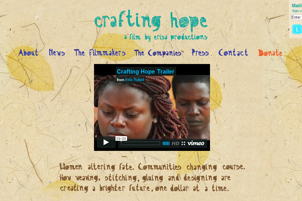 Crafting Hope Homepage
