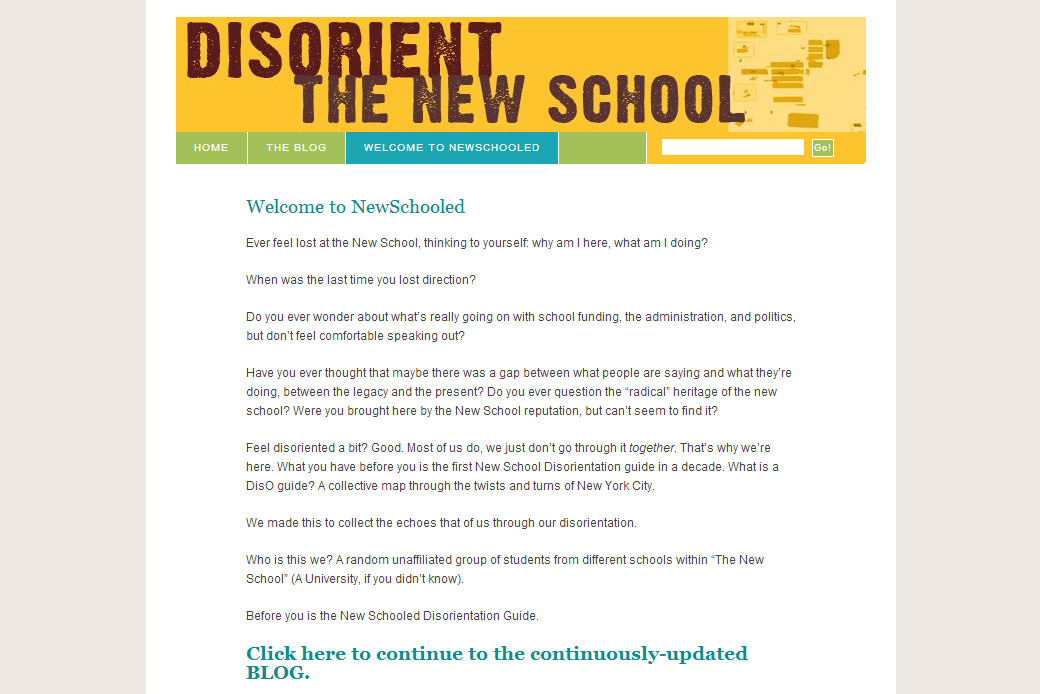 Disorient the New School Homepage