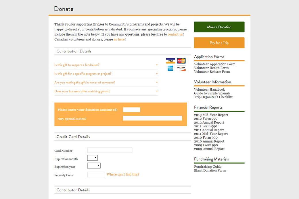 Bridges to Community: Bridges to Community Donate Page