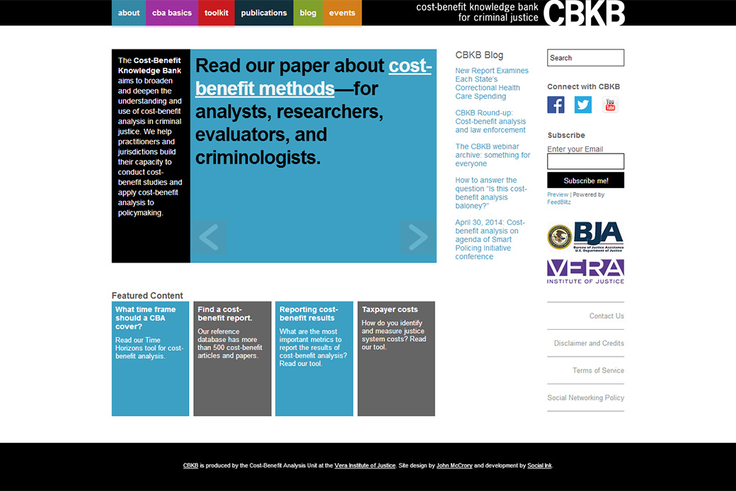 Cost-Benefit Knowledge Bank for Criminal Justice (Vera Institute of Justice - CBKB): CBKB Home