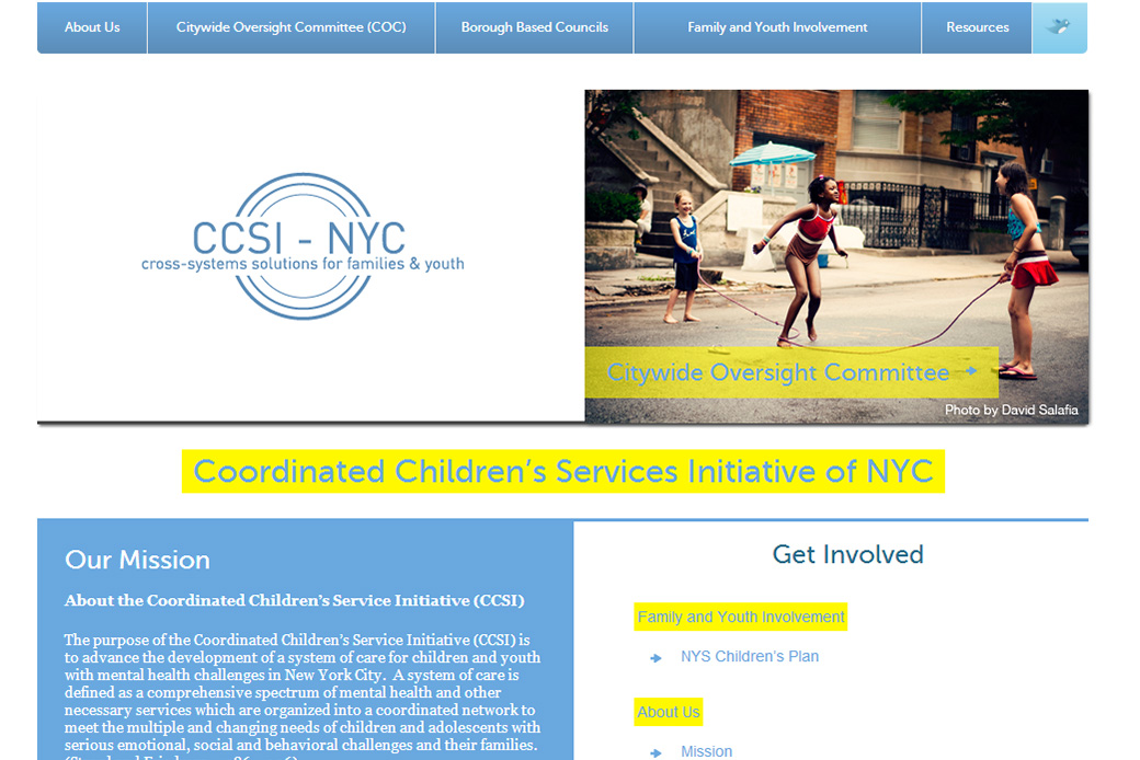 The Coordinated Children's Service Initiative (CCSI): CCSI Home