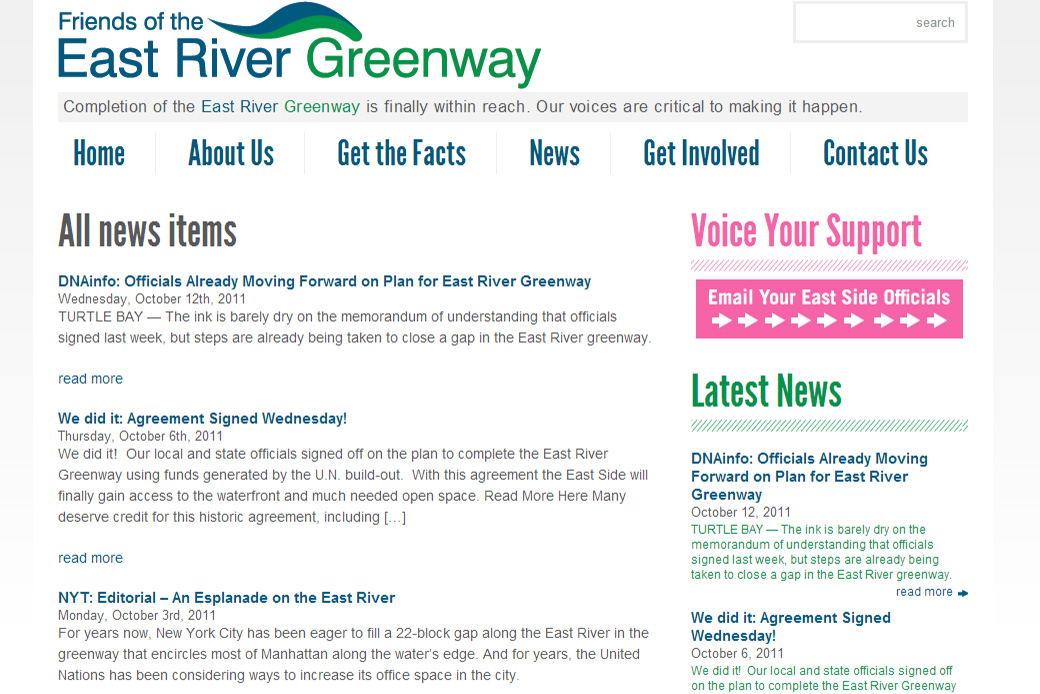 East River Greenway: East River Park Greenway  News