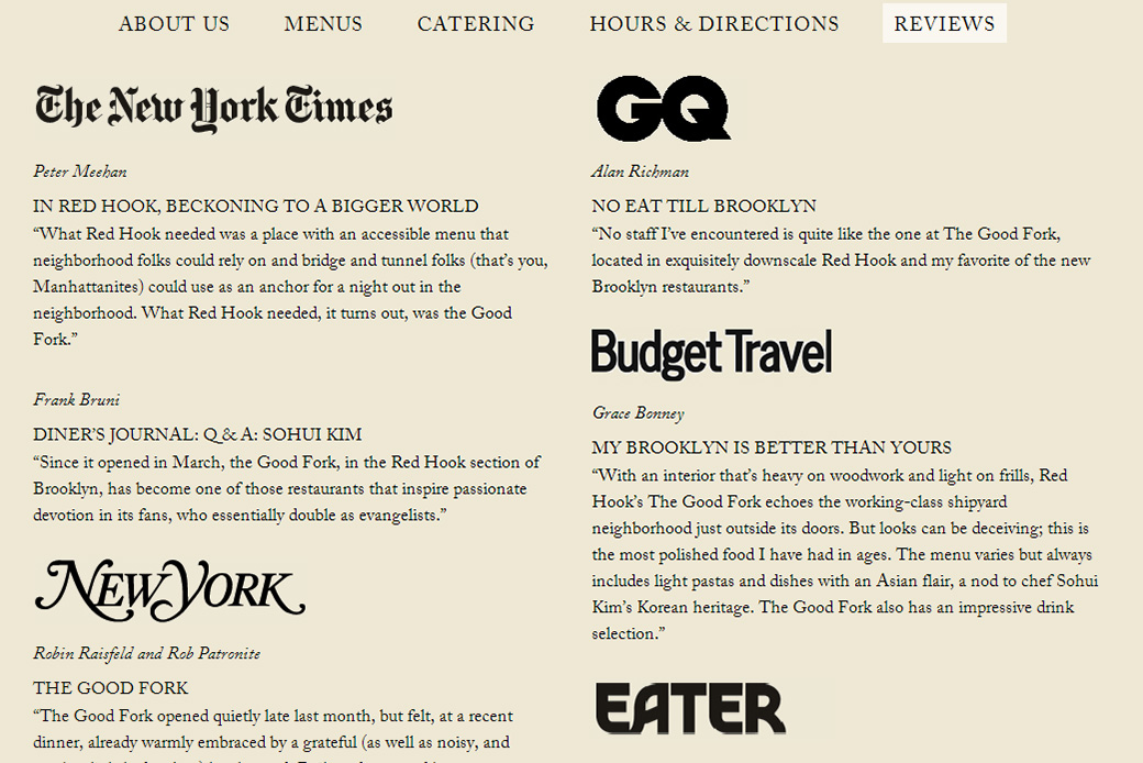 The Good Fork: reviews and press | the good fork brooklyn