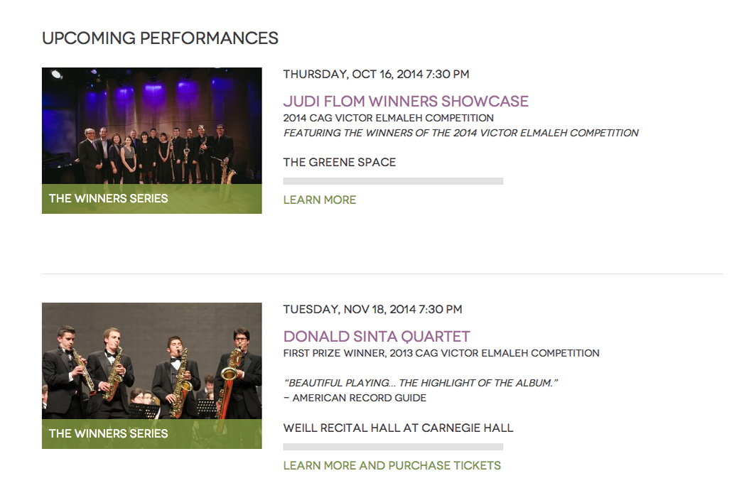 Concert Artists Guild: Concert Artist Guild Shows