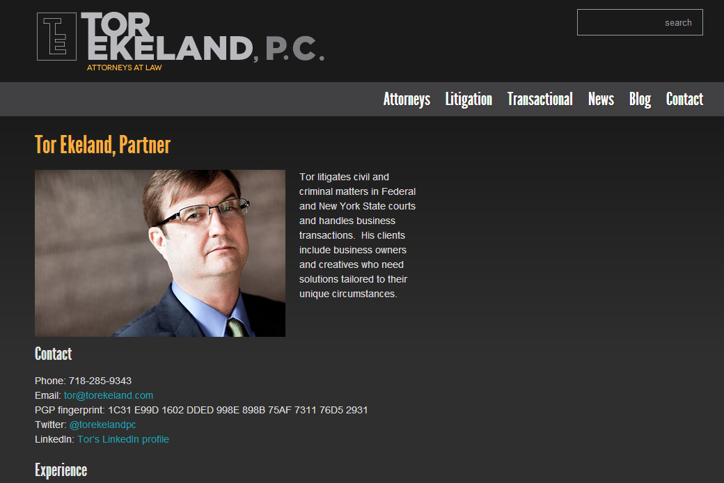Tor Ekeland PC Partner Profile