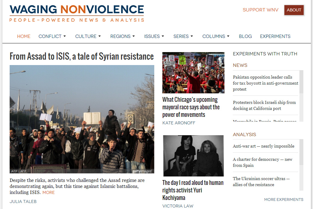 Waging Nonviolence: Waging Nonviolence Homepage by Social Ink