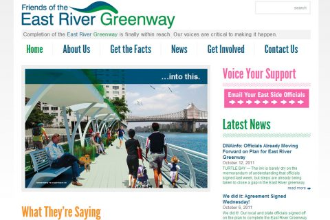 Welcome to Friends of the East River Greenway New York City Homepage