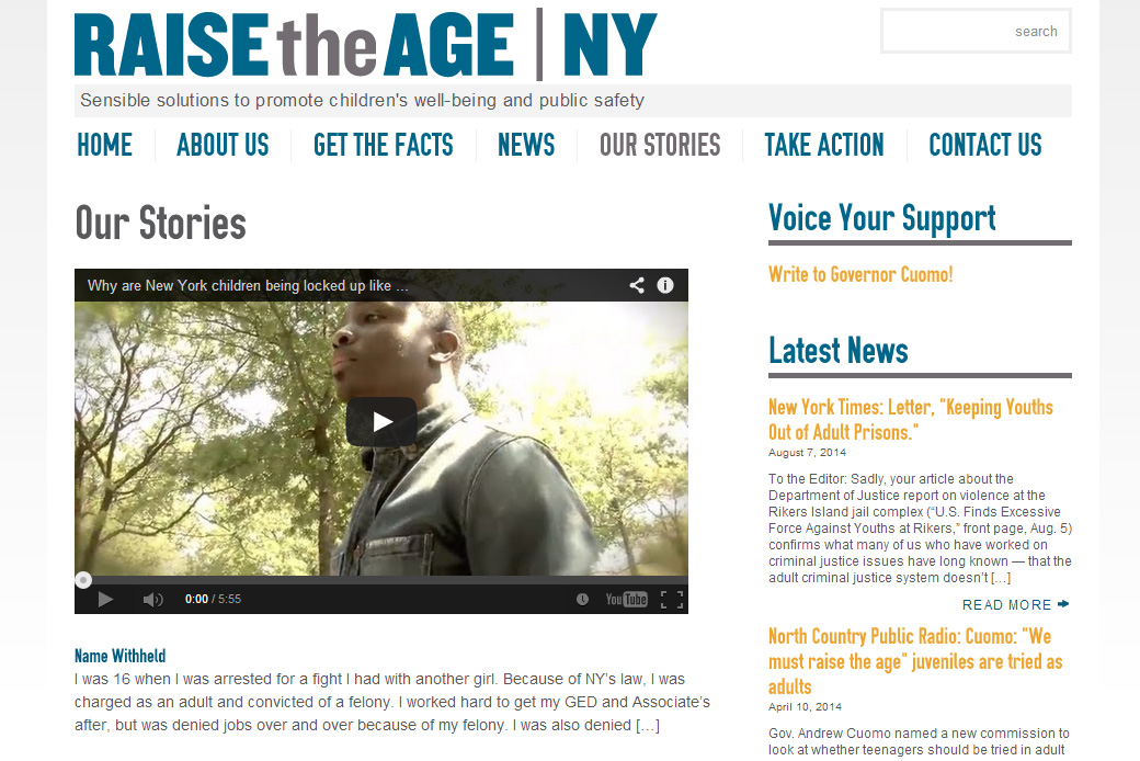 Raise the Age New York: Raise the Age New York - Video Page