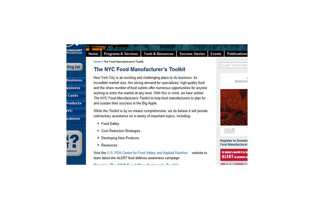 ITAC Food Manufacturer's Toolkit: ITAC Toolkit
