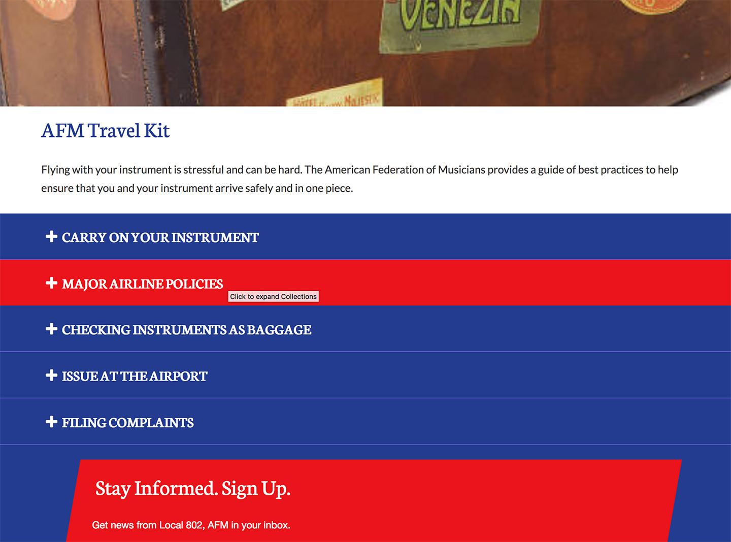 American Federation of Musicians NYC Local 802: Local 802 Travel Guidelines