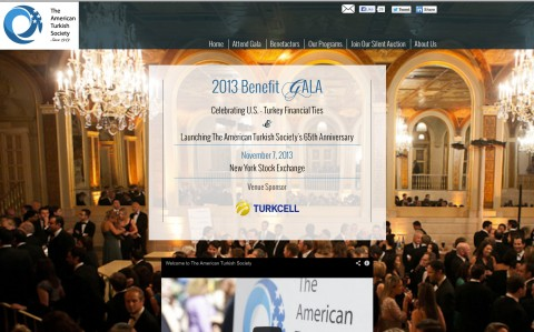 American Turkish Society Gala: Fundraising Microsite for Annual Benefit - Homepage (top section)