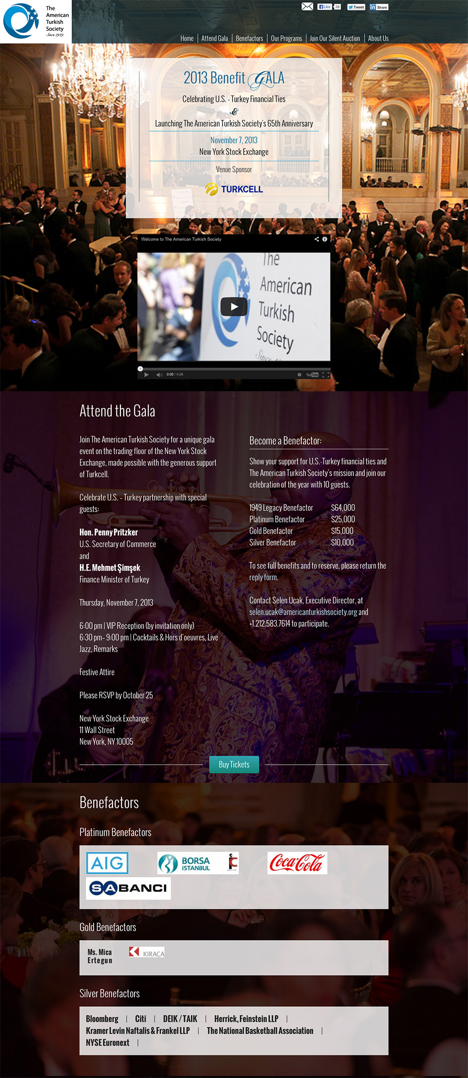American Turkish Society Gala: Fundraising Microsite for Annual Benefit