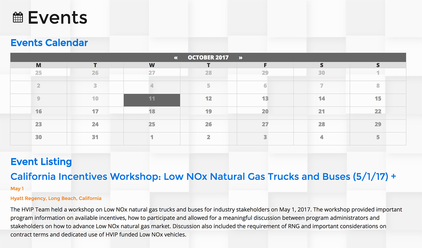 California Hybrid and Zero-Emission Truck and Bus Voucher Incentive Project: Events Calendar
